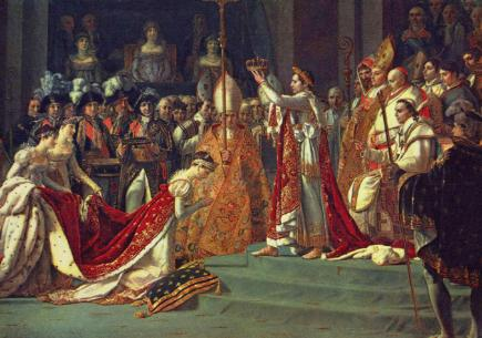 Josephine kneells before Napoleon at his coronation at Notre Dame